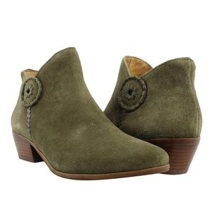 Jack Rogers Peyton Olive Suede Ankle Boots sz 7.5 for sale